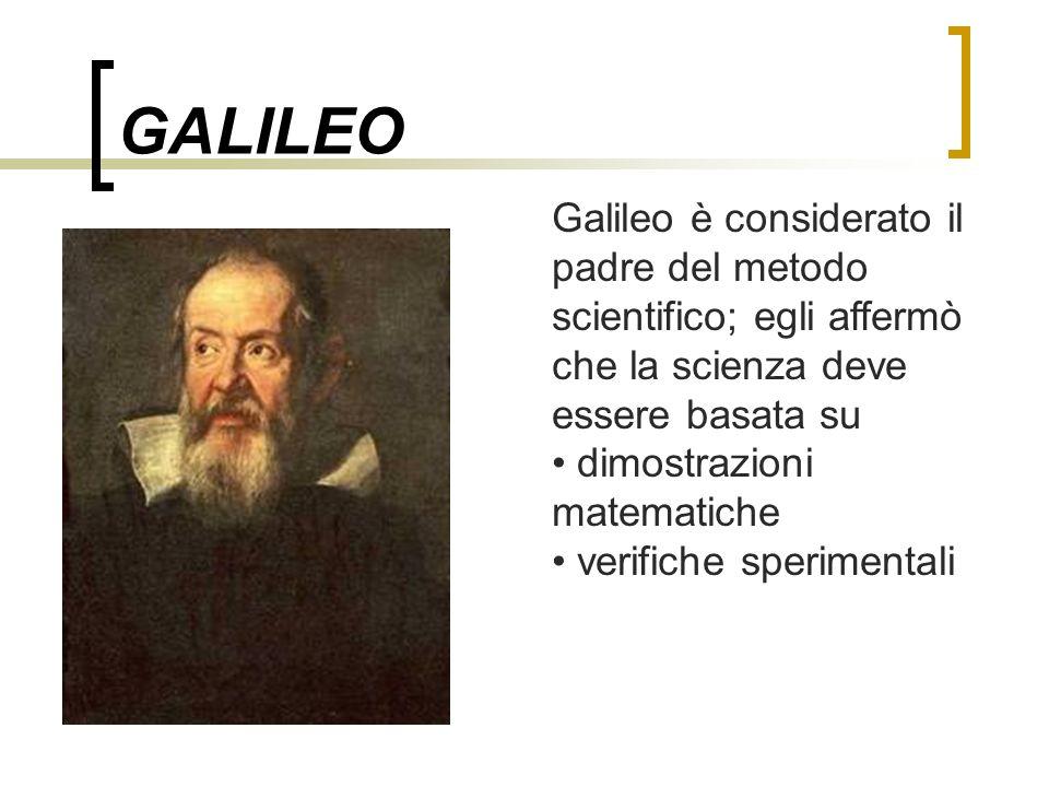 GALILEO Galileo è considerato il padre del metodo scientifico; egli affermò che la scienza deve essere basata su dimostrazioni matematiche verifiche s