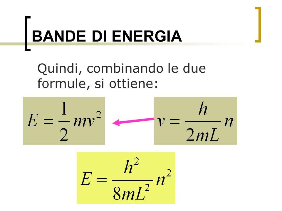BANDE DI ENERGIA Quindi, combinando le due formule, si ottiene: