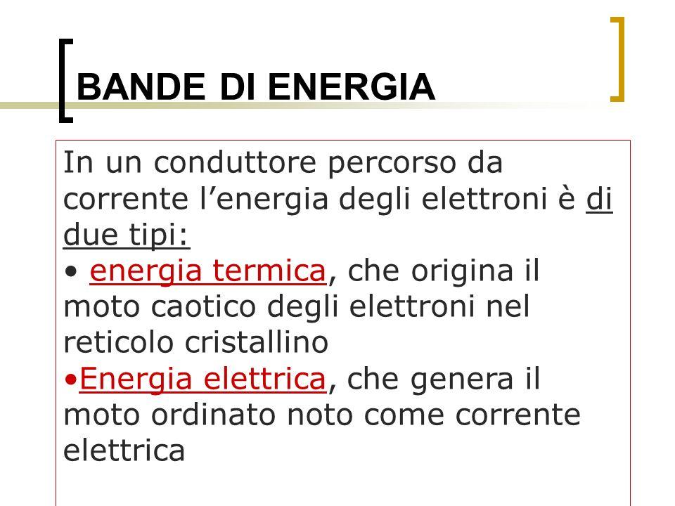 BANDE DI ENERGIA In un conduttore percorso da corrente lenergia degli elettroni è di due tipi: energia termica, che origina il moto caotico degli elet