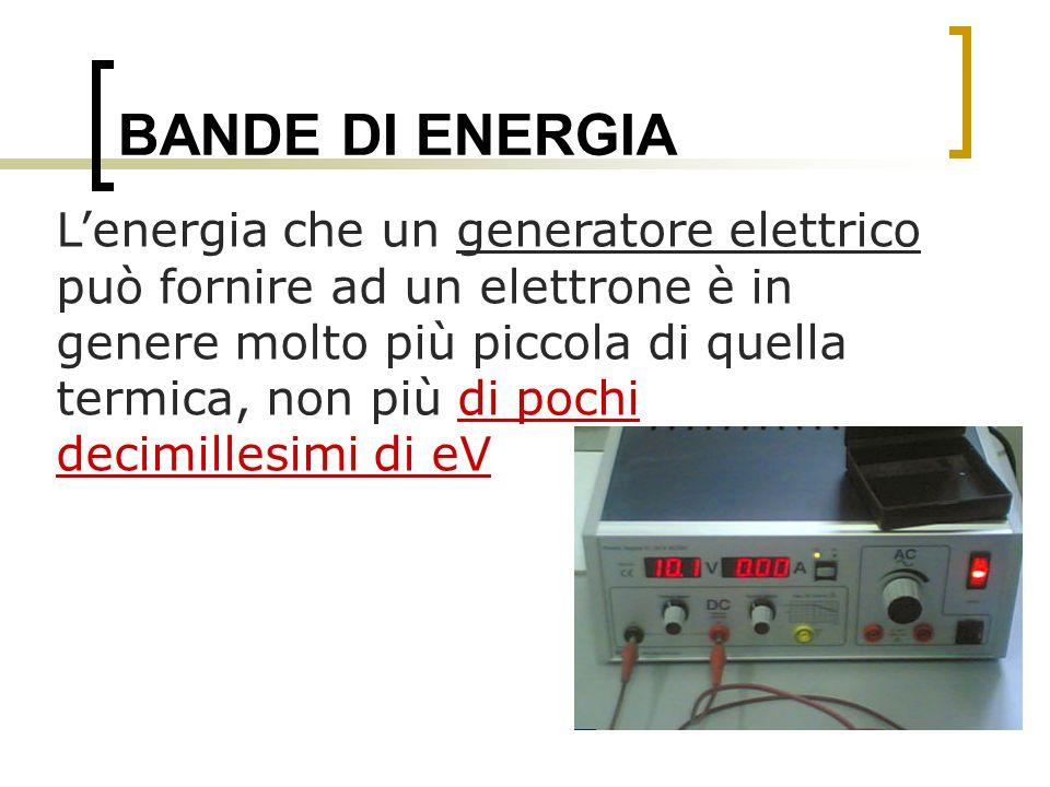 BANDE DI ENERGIA Lenergia che un generatore elettrico può fornire ad un elettrone è in genere molto più piccola di quella termica, non più di pochi de