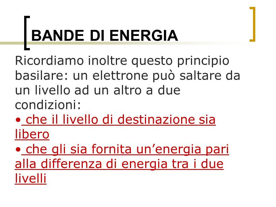 BANDE DI ENERGIA Ricordiamo inoltre questo principio basilare: un elettrone può saltare da un livello ad un altro a due condizioni: che il livello di