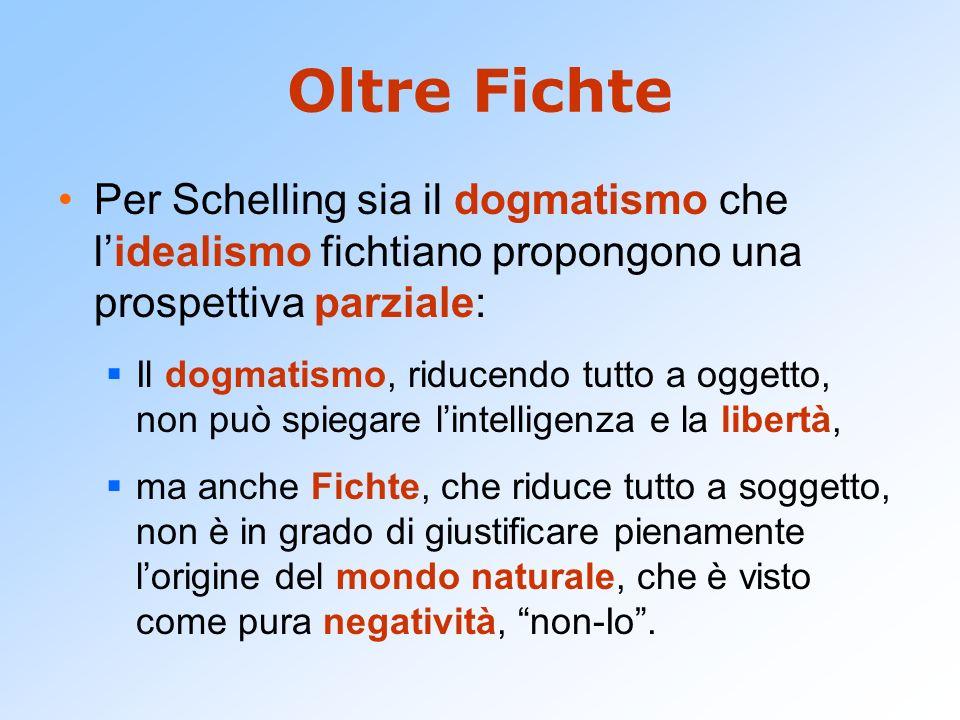 Oltre Fichte Per Schelling sia il dogmatismo che lidealismo fichtiano propongono una prospettiva parziale: Il dogmatismo, riducendo tutto a oggetto, n