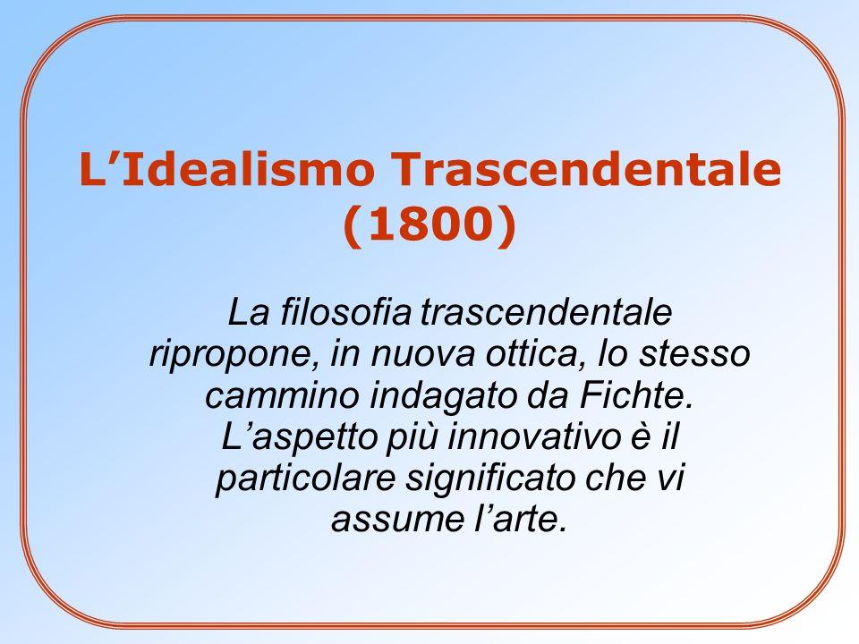 LIdealismo Trascendentale (1800) La filosofia trascendentale ripropone, in nuova ottica, lo stesso cammino indagato da Fichte. Laspetto più innovativo