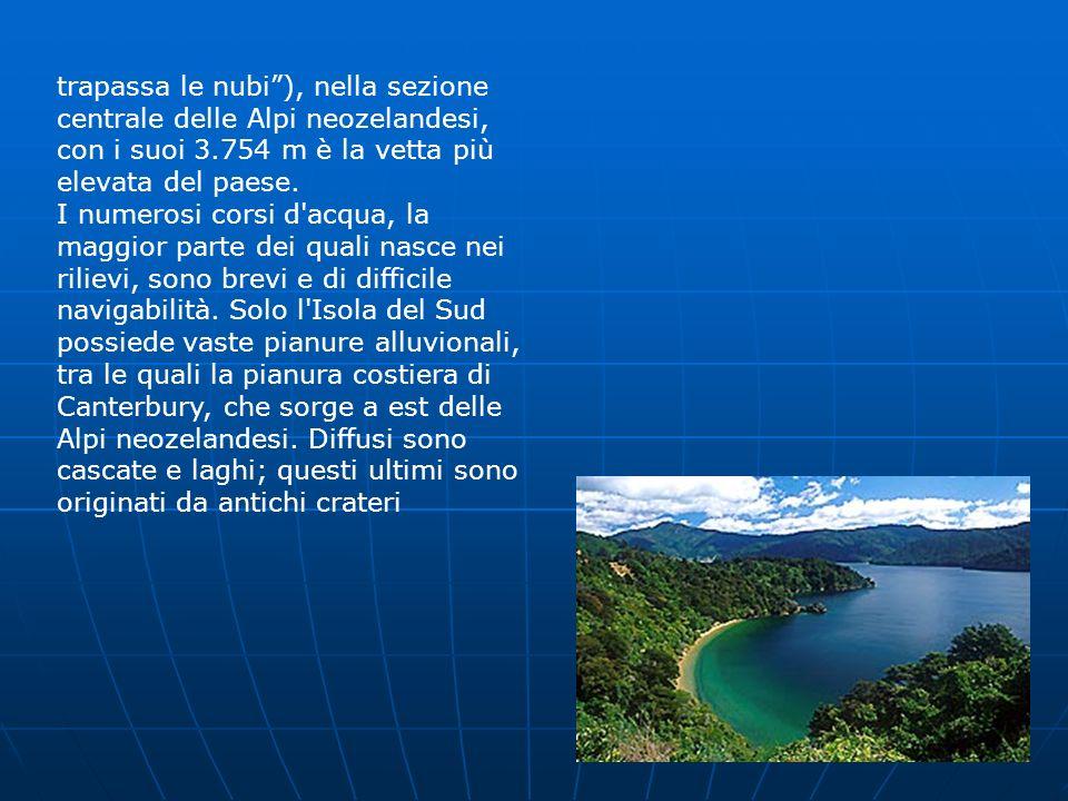 trapassa le nubi), nella sezione centrale delle Alpi neozelandesi, con i suoi 3.754 m è la vetta più elevata del paese. I numerosi corsi d'acqua, la m