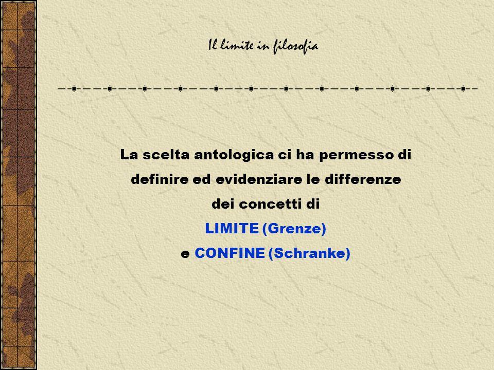 Il limite in filosofia La scelta antologica ci ha permesso di definire ed evidenziare le differenze dei concetti di LIMITE (Grenze) e CONFINE (Schranke)
