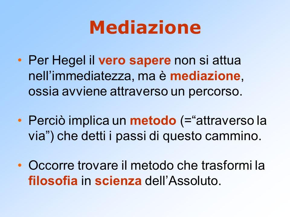 Mediazione Per Hegel il vero sapere non si attua nellimmediatezza, ma è mediazione, ossia avviene attraverso un percorso. Perciò implica un metodo (=a