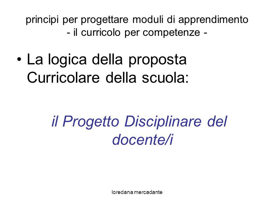 loredana mercadante principi per progettare moduli di apprendimento - il curricolo per competenze - La logica della proposta Curricolare della scuola: il Progetto Disciplinare del docente/i