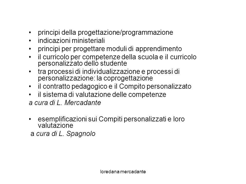loredana mercadante principi Programmare Tipo di Curricolo: Progettare Tipo di Curricolo: paradigmi: