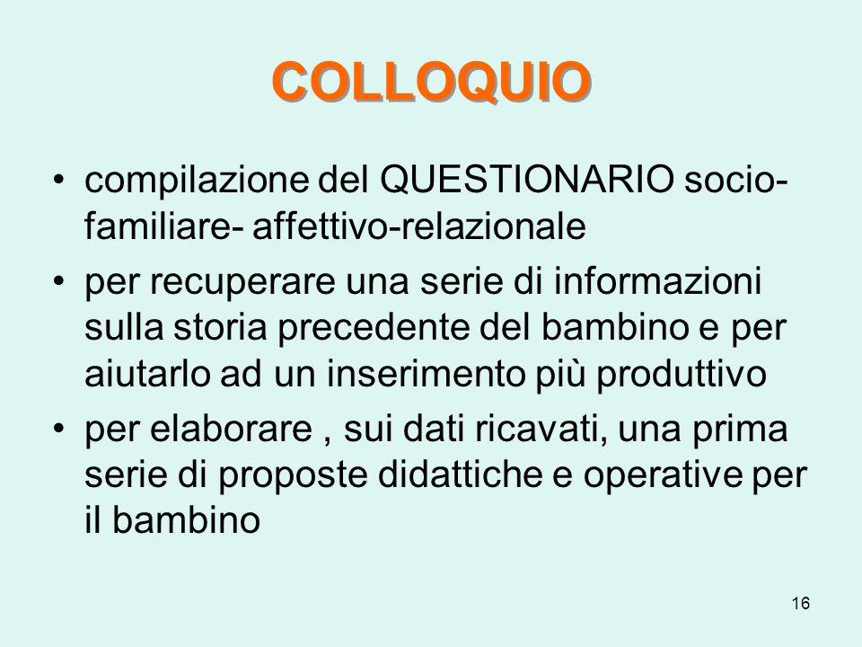 16 COLLOQUIO compilazione del QUESTIONARIO socio- familiare- affettivo-relazionale per recuperare una serie di informazioni sulla storia precedente de