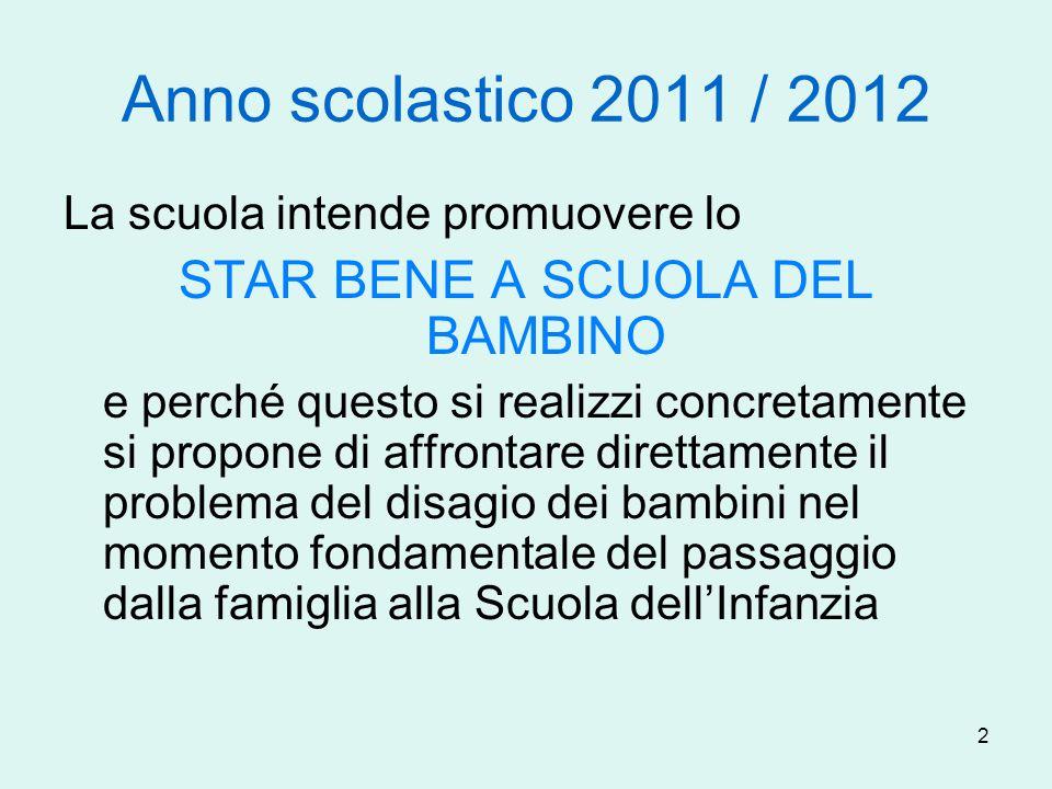2 Anno scolastico 2011 / 2012 La scuola intende promuovere lo STAR BENE A SCUOLA DEL BAMBINO e perché questo si realizzi concretamente si propone di a