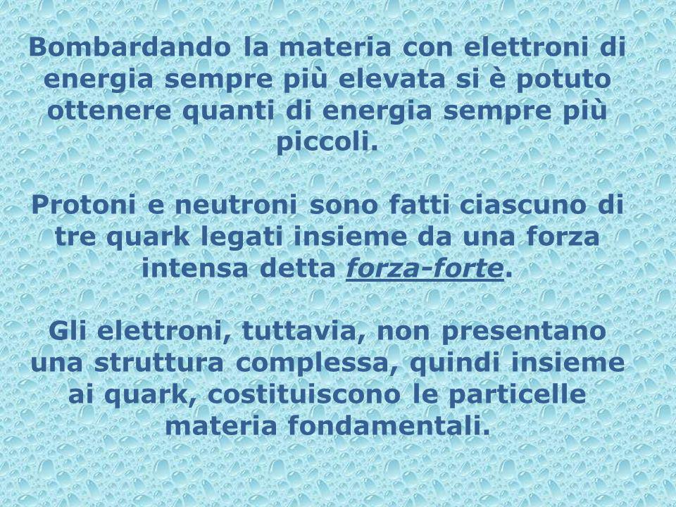 Bombardando la materia con elettroni di energia sempre più elevata si è potuto ottenere quanti di energia sempre più piccoli. Protoni e neutroni sono