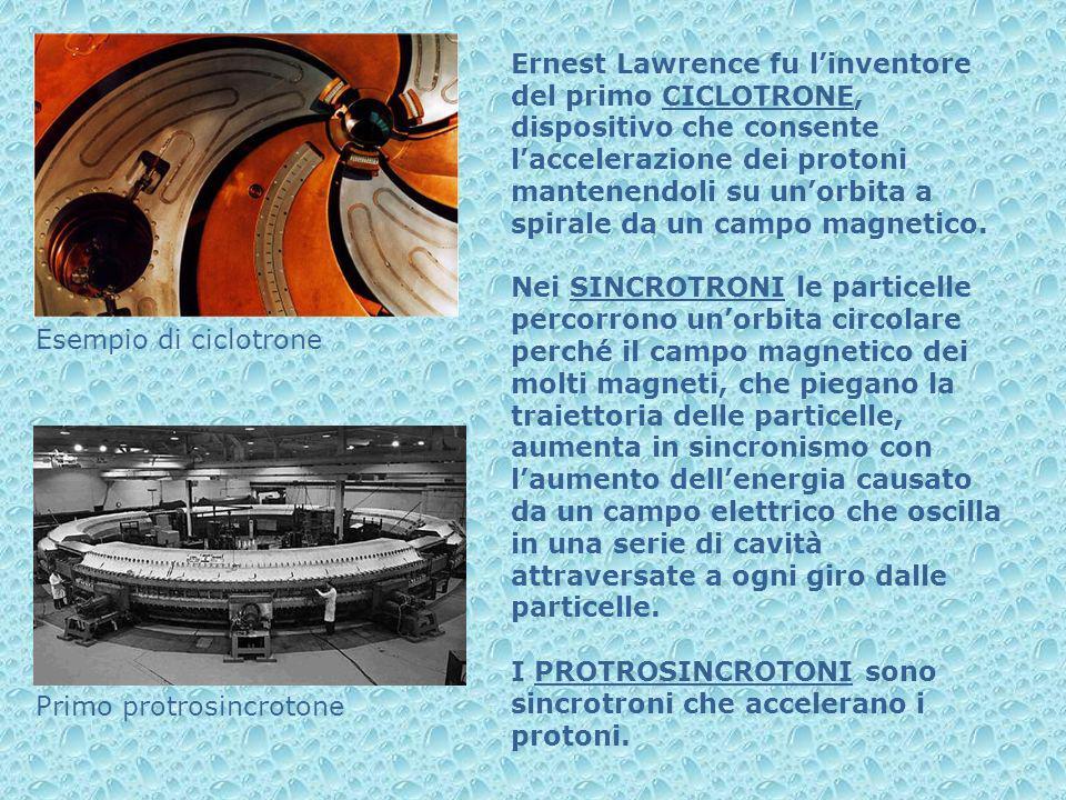 Ernest Lawrence fu linventore del primo CICLOTRONE, dispositivo che consente laccelerazione dei protoni mantenendoli su unorbita a spirale da un campo