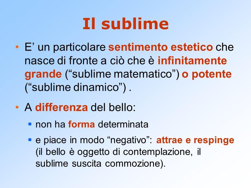 Il sublime E un particolare sentimento estetico che nasce di fronte a ciò che è infinitamente grande (sublime matematico) o potente (sublime dinamico)