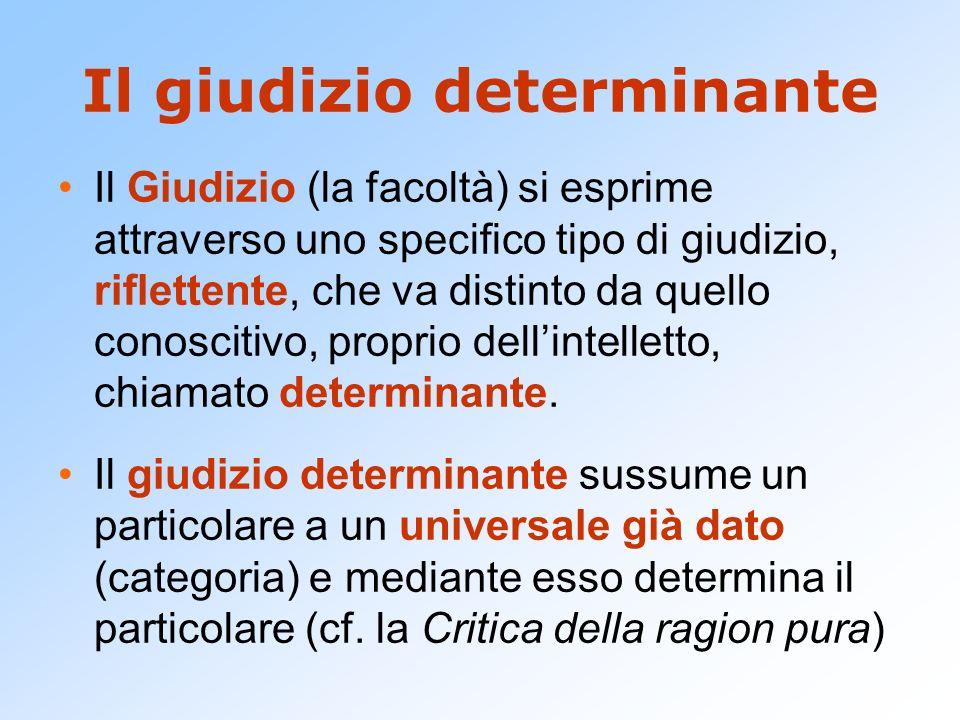 Il giudizio determinante Il Giudizio (la facoltà) si esprime attraverso uno specifico tipo di giudizio, riflettente, che va distinto da quello conosci