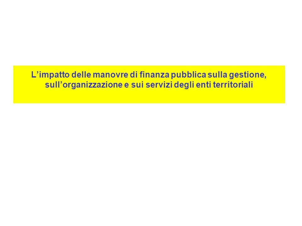 Limpatto delle manovre di finanza pubblica sulla gestione, sullorganizzazione e sui servizi degli enti territoriali