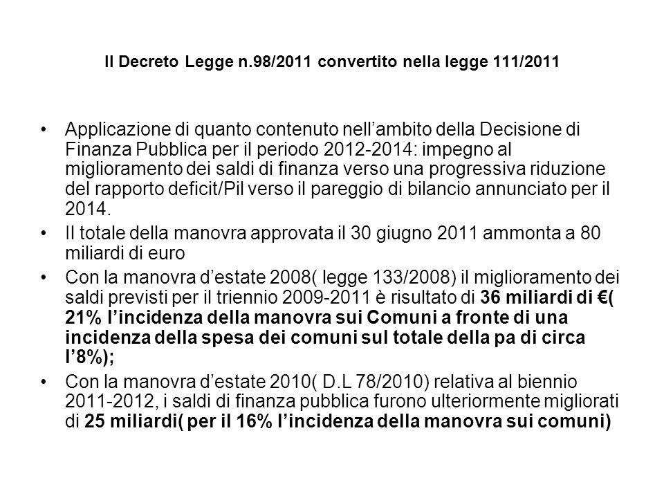 Il Decreto Legge n.98/2011 convertito nella legge 111/2011 Applicazione di quanto contenuto nellambito della Decisione di Finanza Pubblica per il periodo 2012-2014: impegno al miglioramento dei saldi di finanza verso una progressiva riduzione del rapporto deficit/Pil verso il pareggio di bilancio annunciato per il 2014.