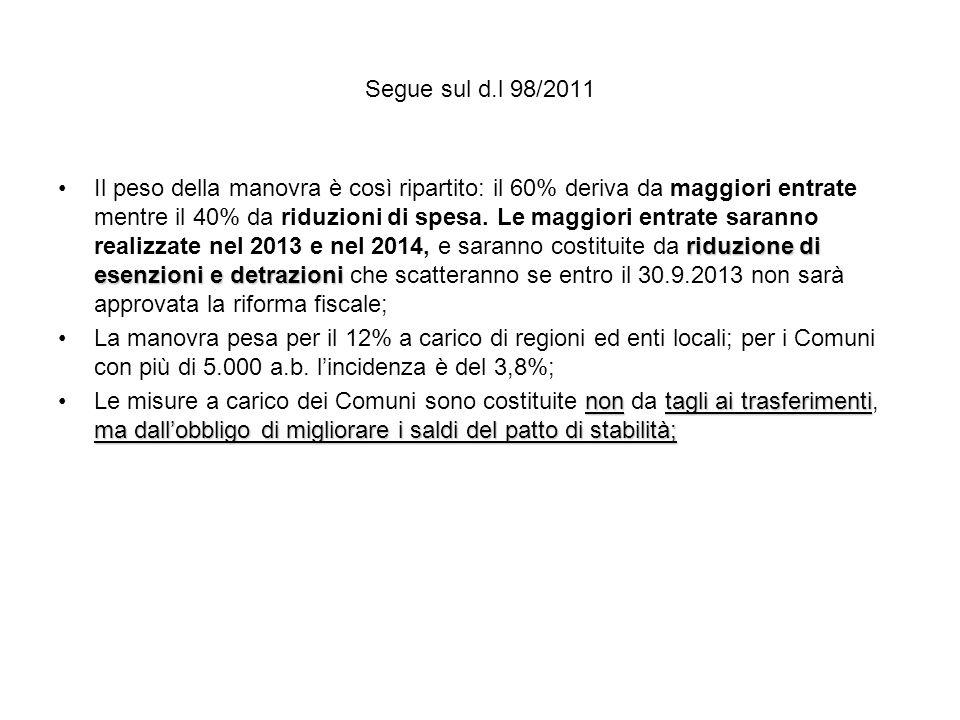 Segue sul d.l 98/2011 riduzione di esenzioni e detrazioniIl peso della manovra è così ripartito: il 60% deriva da maggiori entrate mentre il 40% da riduzioni di spesa.