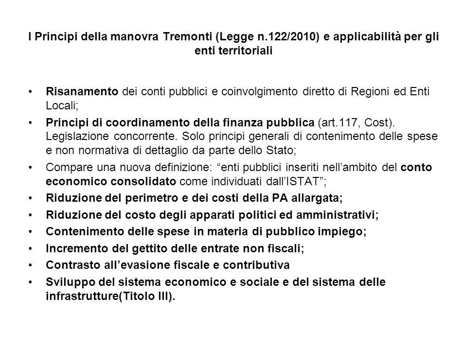 I Principi della manovra Tremonti (Legge n.122/2010) e applicabilità per gli enti territoriali Risanamento dei conti pubblici e coinvolgimento diretto di Regioni ed Enti Locali; Principi di coordinamento della finanza pubblica (art.117, Cost).