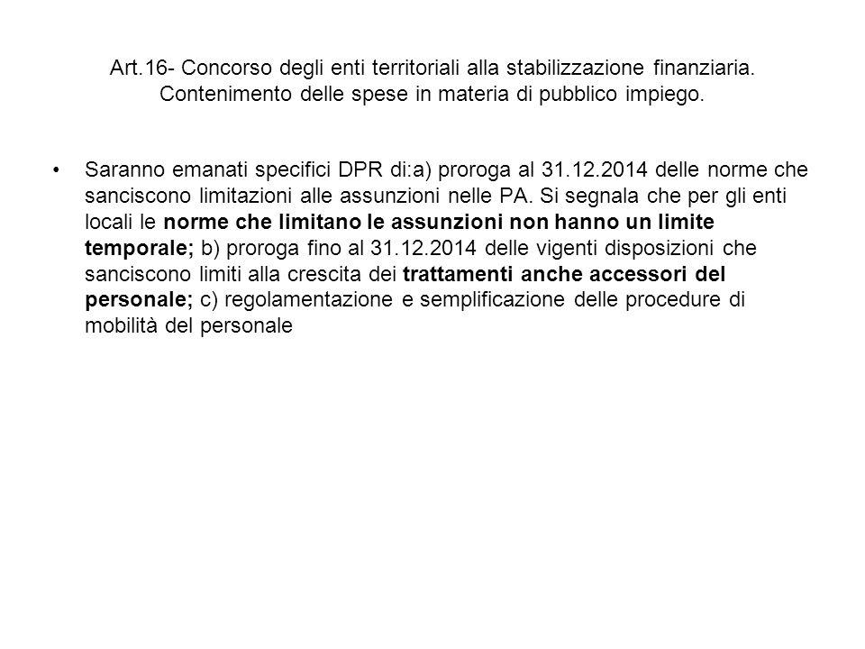 Art.16- Concorso degli enti territoriali alla stabilizzazione finanziaria.