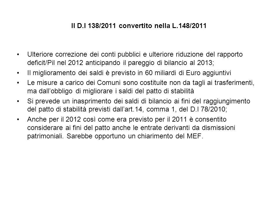 Il D.l 138/2011 convertito nella L.148/2011 Ulteriore correzione dei conti pubblici e ulteriore riduzione del rapporto deficit/Pil nel 2012 anticipando il pareggio di bilancio al 2013; Il miglioramento dei saldi è previsto in 60 miliardi di Euro aggiuntivi Le misure a carico dei Comuni sono costituite non da tagli ai trasferimenti, ma dallobbligo di migliorare i saldi del patto di stabilità Si prevede un inasprimento dei saldi di bilancio ai fini del raggiungimento del patto di stabilità previsti dallart.14, comma 1, del D.l 78/2010; Anche per il 2012 così come era previsto per il 2011 è consentito considerare ai fini del patto anche le entrate derivanti da dismissioni patrimoniali.