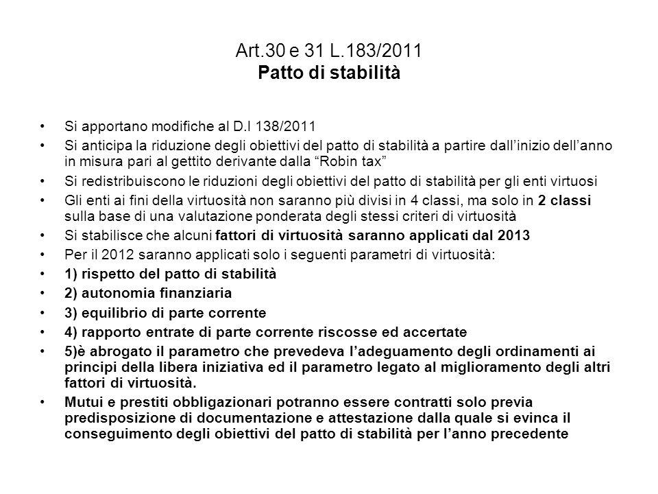 Art.30 e 31 L.183/2011 Patto di stabilità Si apportano modifiche al D.l 138/2011 Si anticipa la riduzione degli obiettivi del patto di stabilità a partire dallinizio dellanno in misura pari al gettito derivante dalla Robin tax Si redistribuiscono le riduzioni degli obiettivi del patto di stabilità per gli enti virtuosi Gli enti ai fini della virtuosità non saranno più divisi in 4 classi, ma solo in 2 classi sulla base di una valutazione ponderata degli stessi criteri di virtuosità Si stabilisce che alcuni fattori di virtuosità saranno applicati dal 2013 Per il 2012 saranno applicati solo i seguenti parametri di virtuosità: 1) rispetto del patto di stabilità 2) autonomia finanziaria 3) equilibrio di parte corrente 4) rapporto entrate di parte corrente riscosse ed accertate 5)è abrogato il parametro che prevedeva ladeguamento degli ordinamenti ai principi della libera iniziativa ed il parametro legato al miglioramento degli altri fattori di virtuosità.