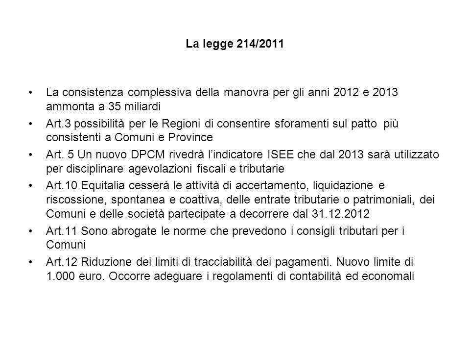 La legge 214/2011 La consistenza complessiva della manovra per gli anni 2012 e 2013 ammonta a 35 miliardi Art.3 possibilità per le Regioni di consentire sforamenti sul patto più consistenti a Comuni e Province Art.