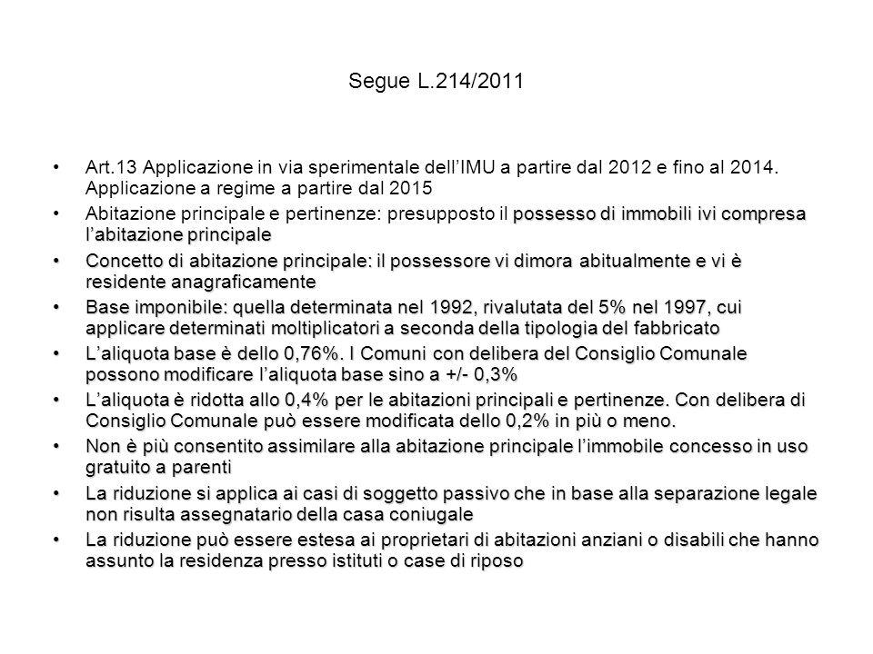 Segue L.214/2011 Art.13 Applicazione in via sperimentale dellIMU a partire dal 2012 e fino al 2014.