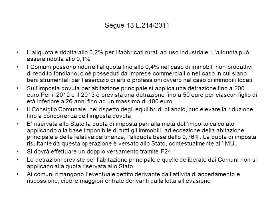 Segue 13 L.214/2011 Laliquota è ridotta allo 0,2% per i fabbricati rurali ad uso industriale.