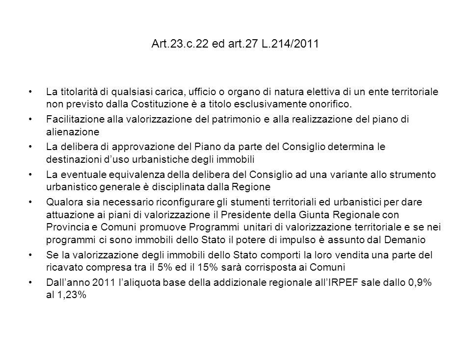 Art.23.c.22 ed art.27 L.214/2011 La titolarità di qualsiasi carica, ufficio o organo di natura elettiva di un ente territoriale non previsto dalla Costituzione è a titolo esclusivamente onorifico.