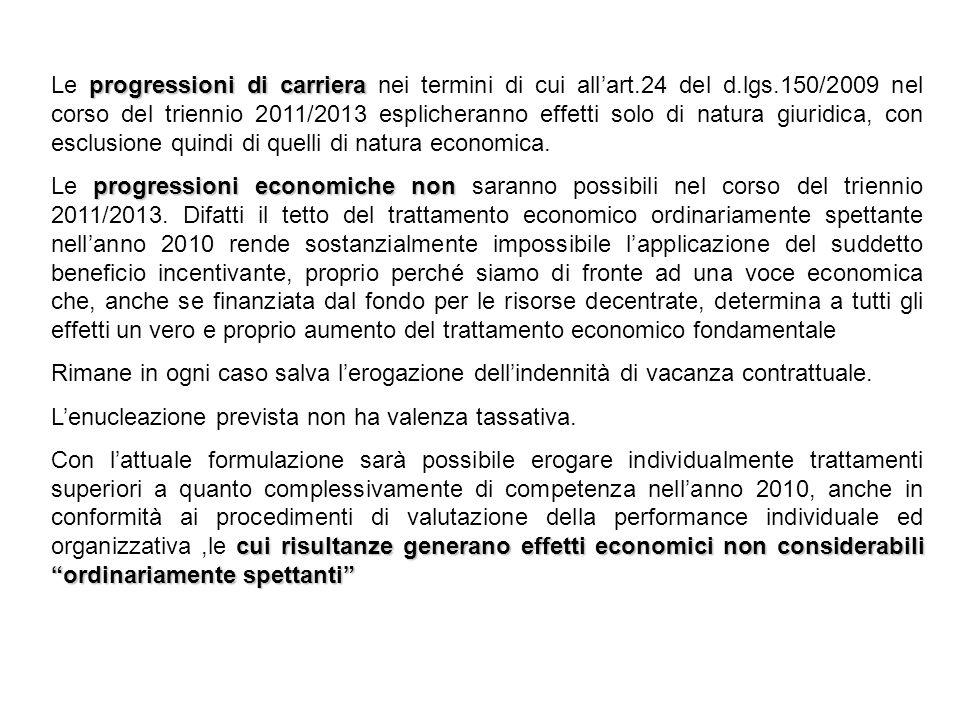 progressioni di carriera Le progressioni di carriera nei termini di cui allart.24 del d.lgs.150/2009 nel corso del triennio 2011/2013 esplicheranno effetti solo di natura giuridica, con esclusione quindi di quelli di natura economica.