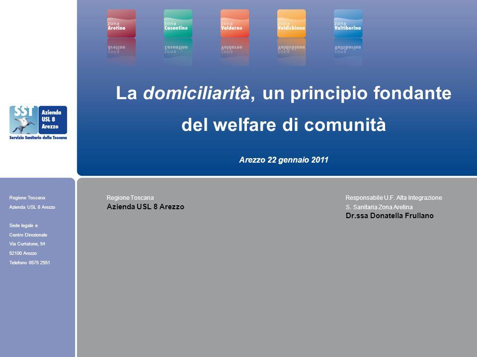 Regione Toscana Azienda USL 8 Arezzo Sede legale e Centro Direzionale Via Curtatone, 54 52100 Arezzo Telefono 0575 2551 Popolazione >= 65 anni CasentinoValtiberinaValdichianaArezzoValdarnoTotale 20078.7438.12611.67327.96620.54177.049 20108.8317.99411.66628.74821.00878.247 Aumento % popolazione+1,01%-1,62%-0,06%+2,80%+2,27%+1,55% Fonte: ARS - Toscana