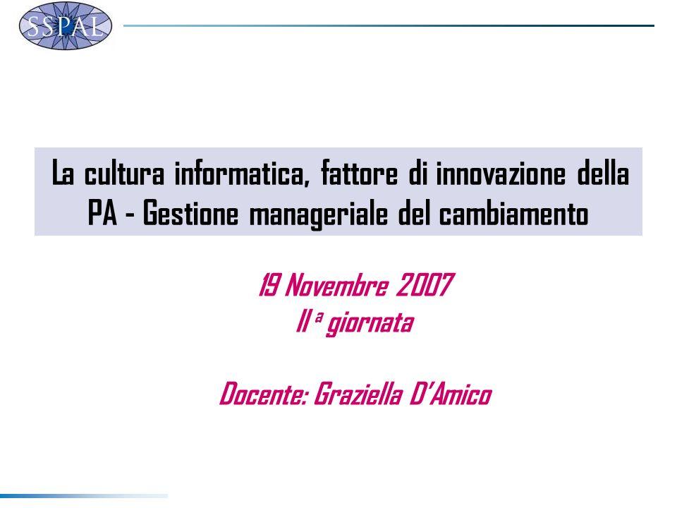 La cultura informatica, fattore di innovazione della PA - Gestione manageriale del cambiamento 19 Novembre 2007 II a giornata Docente: Graziella DAmico
