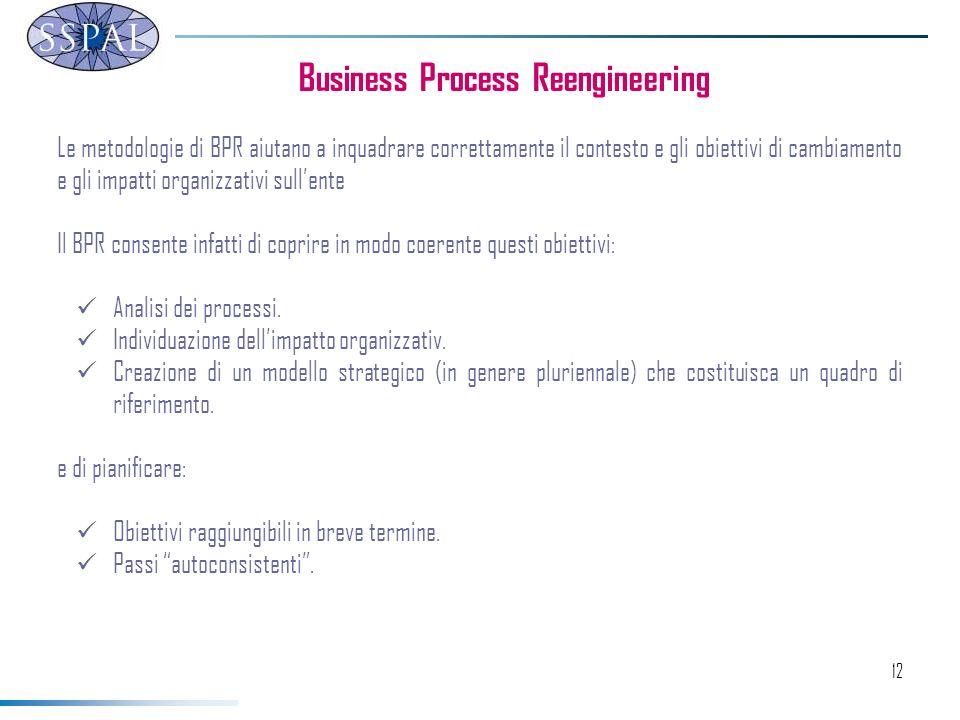 12 Business Process Reengineering Le metodologie di BPR aiutano a inquadrare correttamente il contesto e gli obiettivi di cambiamento e gli impatti organizzativi sullente Il BPR consente infatti di coprire in modo coerente questi obiettivi: Analisi dei processi.