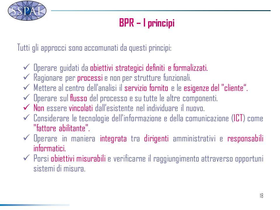 18 BPR – I principi Tutti gli approcci sono accomunati da questi principi: Operare guidati da obiettivi strategici definiti e formalizzati.