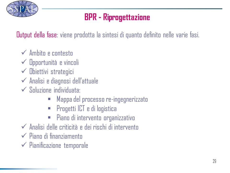 29 BPR - Riprogettazione Output della fase: viene prodotta la sintesi di quanto definito nelle varie fasi.
