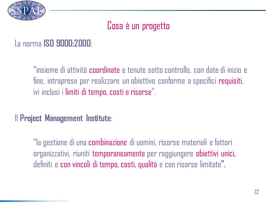 32 La norma ISO 9000:2000 : insieme di attività coordinate e tenute sotto controllo, con date di inizio e fine, intraprese per realizzare un obiettivo conforme a specifici requisiti, ivi inclusi i limiti di tempo, costi e risorse.
