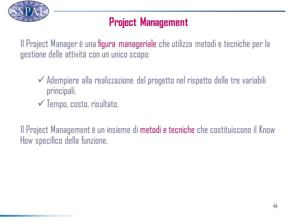 44 Il Project Manager è una figura manageriale che utilizza metodi e tecniche per la gestione delle attività con un unico scopo: Adempiere alla realizzazione del progetto nel rispetto delle tre variabili principali.