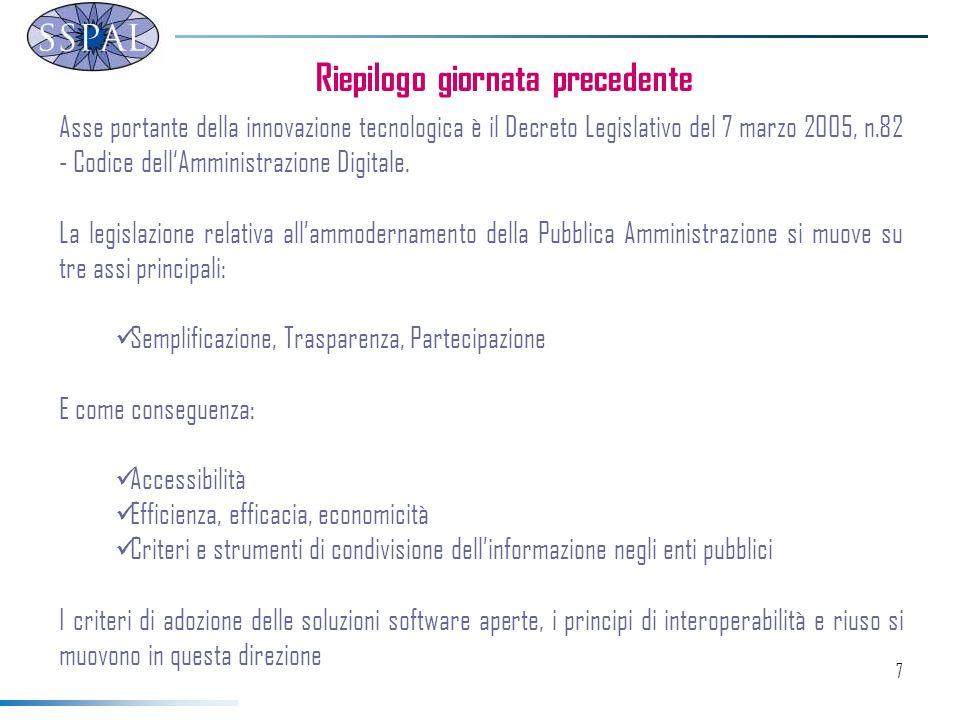 7 Asse portante della innovazione tecnologica è il Decreto Legislativo del 7 marzo 2005, n.82 - Codice dellAmministrazione Digitale.