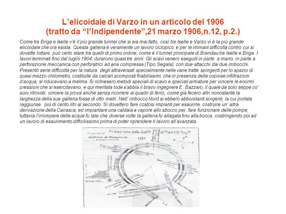 Lelicoidale di Varzo in un articolo del 1906 (tratto da lIndipendente,21 marzo 1906,n.12, p.2.) Come tra Briga e Iselle vè il più grande tunnel che si