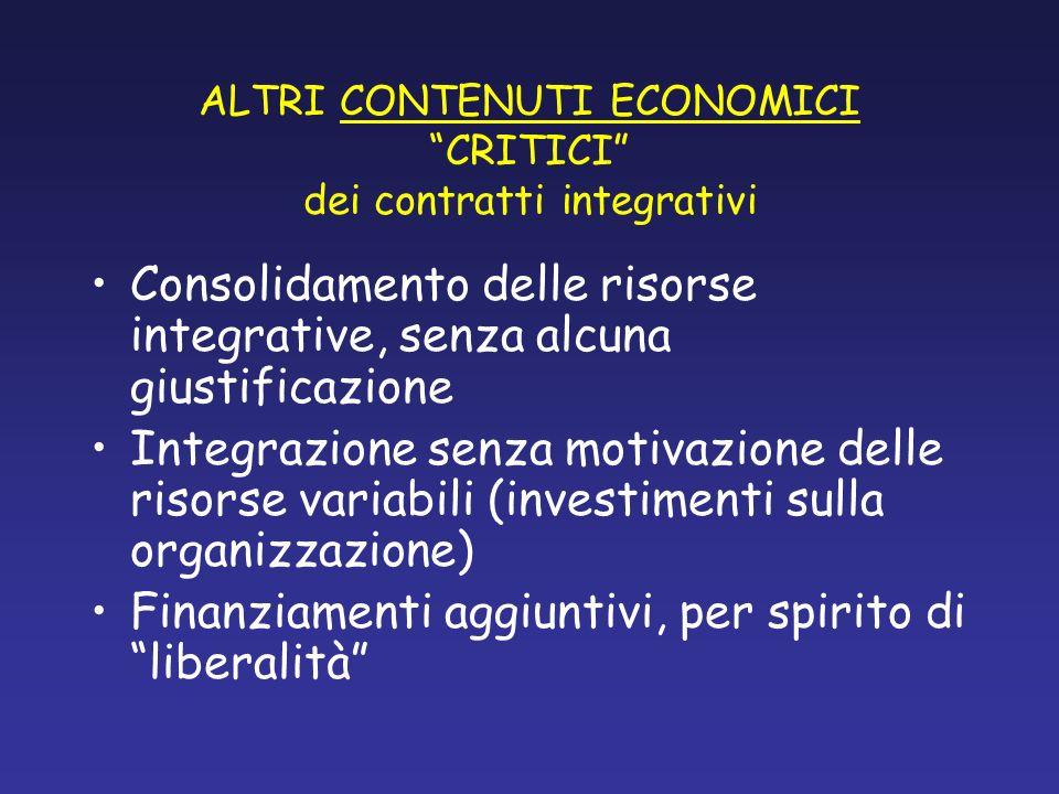 ALTRI CONTENUTI ECONOMICI CRITICI dei contratti integrativi Consolidamento delle risorse integrative, senza alcuna giustificazione Integrazione senza