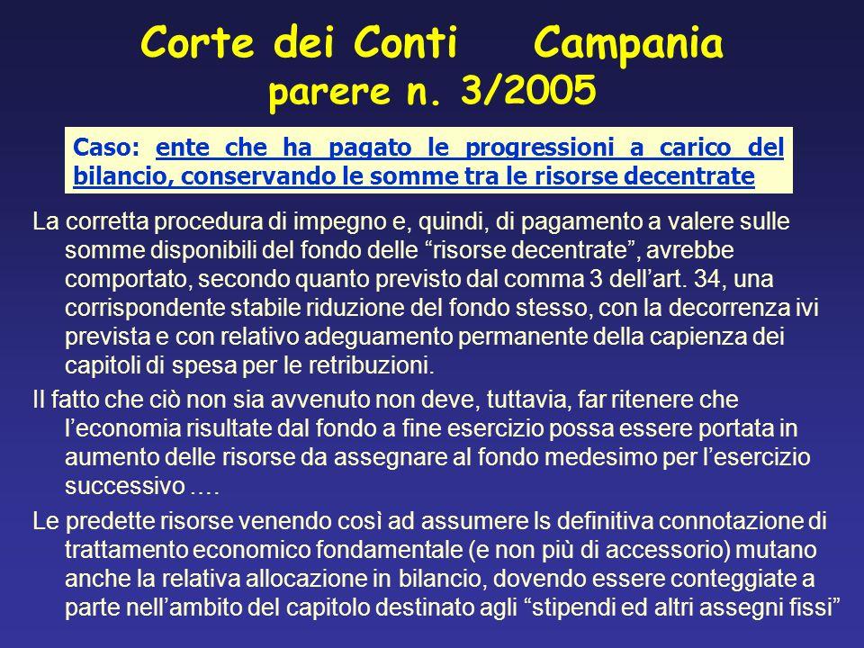 Corte dei Conti Campania parere n. 3/2005 La corretta procedura di impegno e, quindi, di pagamento a valere sulle somme disponibili del fondo delle ri