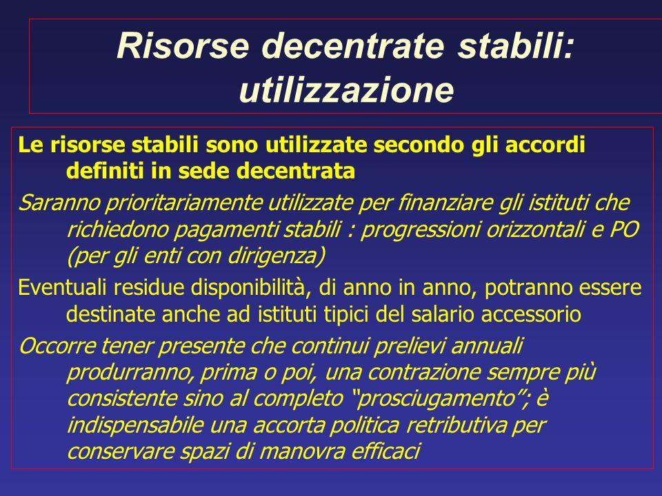 Risorse decentrate stabili: utilizzazione Le risorse stabili sono utilizzate secondo gli accordi definiti in sede decentrata Saranno prioritariamente