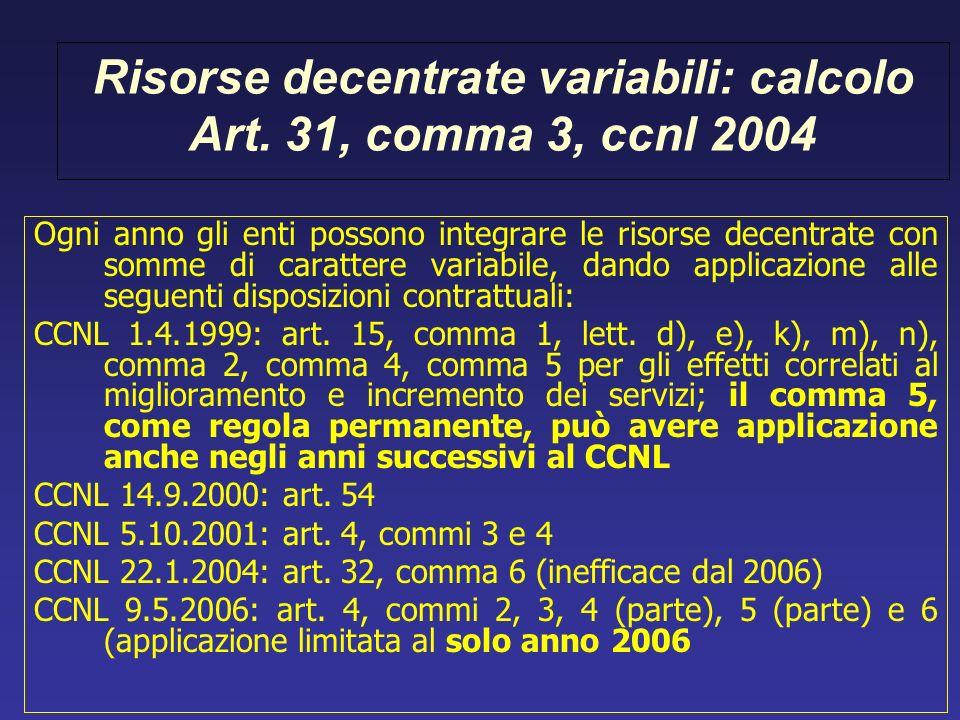 Risorse decentrate variabili: calcolo Art. 31, comma 3, ccnl 2004 Ogni anno gli enti possono integrare le risorse decentrate con somme di carattere va