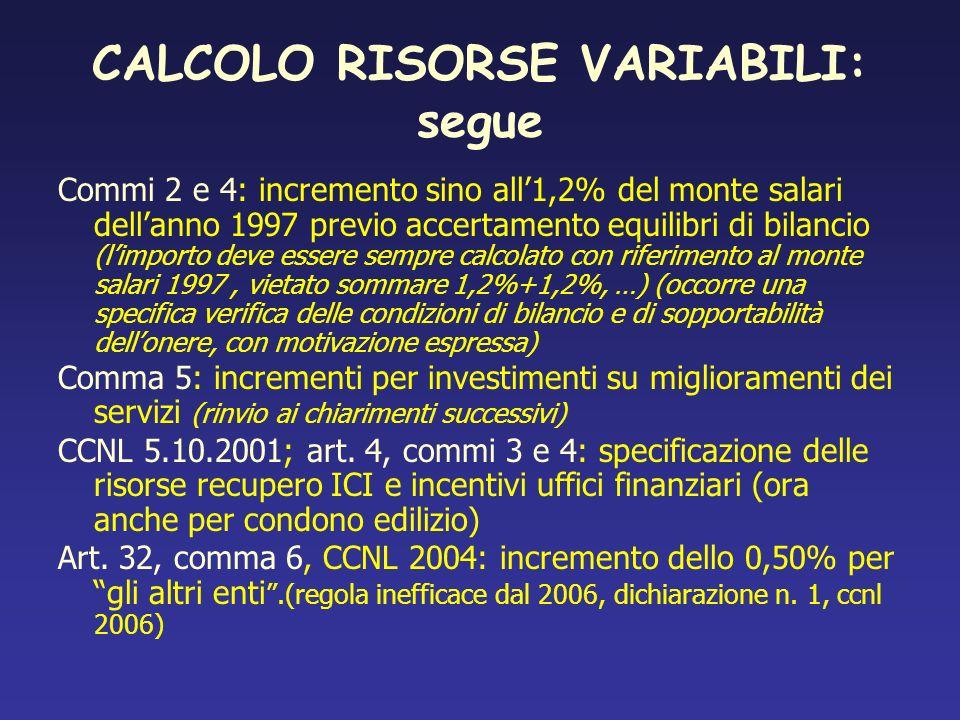 CALCOLO RISORSE VARIABILI: segue Commi 2 e 4: incremento sino all1,2% del monte salari dellanno 1997 previo accertamento equilibri di bilancio (limpor