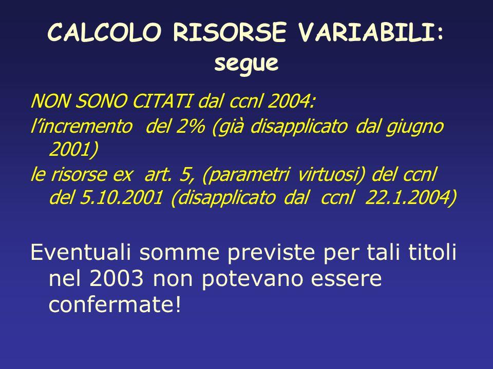 CALCOLO RISORSE VARIABILI: segue NON SONO CITATI dal ccnl 2004: lincremento del 2% (già disapplicato dal giugno 2001) le risorse ex art. 5, (parametri