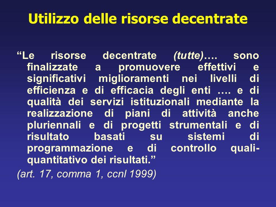 Utilizzo delle risorse decentrate Le risorse decentrate (tutte)…. sono finalizzate a promuovere effettivi e significativi miglioramenti nei livelli di