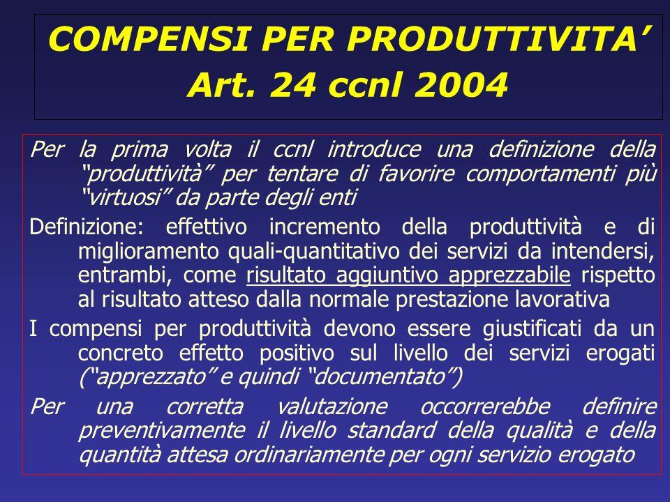 COMPENSI PER PRODUTTIVITA Art. 24 ccnl 2004 Per la prima volta il ccnl introduce una definizione della produttività per tentare di favorire comportame