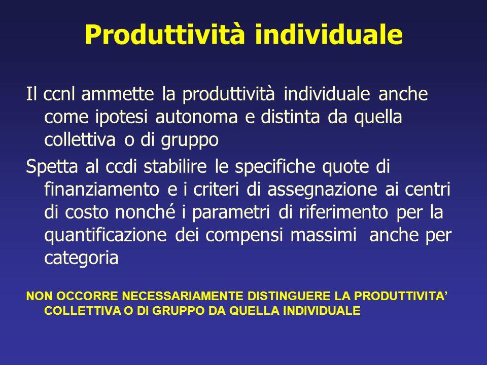 Produttività individuale Il ccnl ammette la produttività individuale anche come ipotesi autonoma e distinta da quella collettiva o di gruppo Spetta al