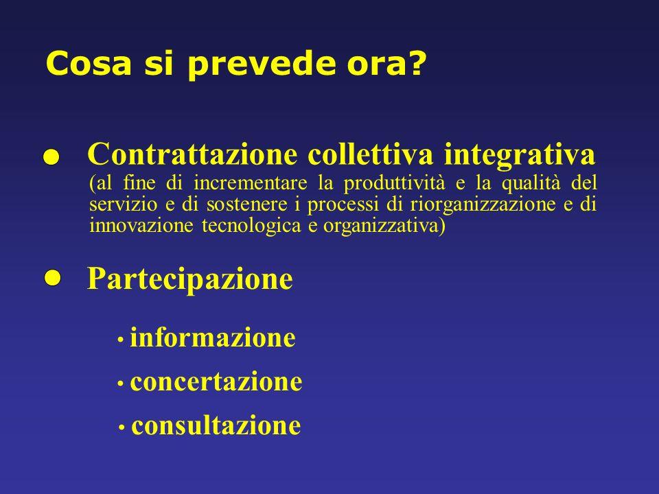 Contrattazione collettiva integrativa Partecipazione informazione concertazione consultazione (al fine di incrementare la produttività e la qualità de