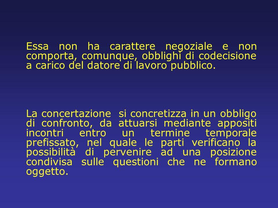 Essa non ha carattere negoziale e non comporta, comunque, obblighi di codecisione a carico del datore di lavoro pubblico. La concertazione si concreti
